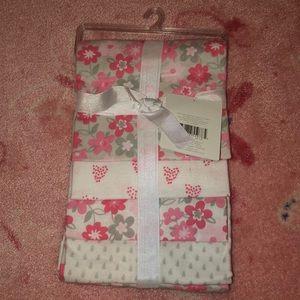 NWT bundle of 4 baby girl receiving blankets